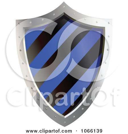 Clipart 3d Blue And Black Shield - Royalty Free Vector Illustration by Vector Tradition SM