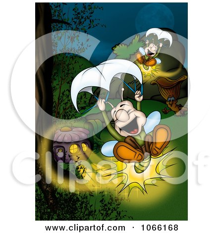 Lightning Bugs Parachuting Posters, Art Prints