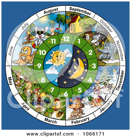 Clipart Animal Month And Clock Face - Royalty Free Illustration by dero
