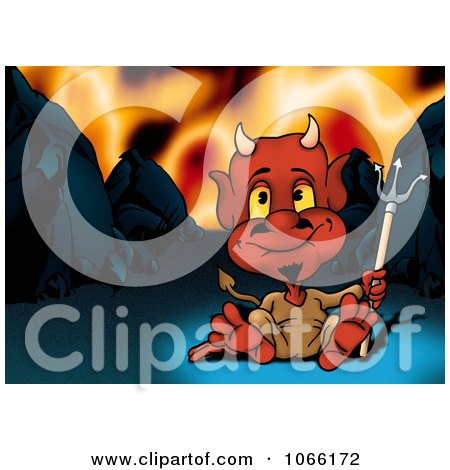 Clipart Devil Sitting In Hell - Royalty Free Illustration by dero