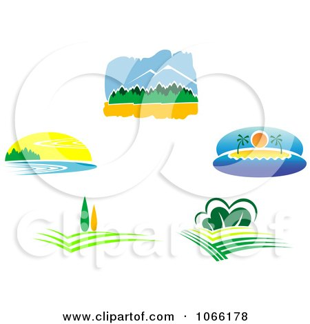 Clipart Nature Landscape Logos 1 - Royalty Free Vector Illustration by Vector Tradition SM