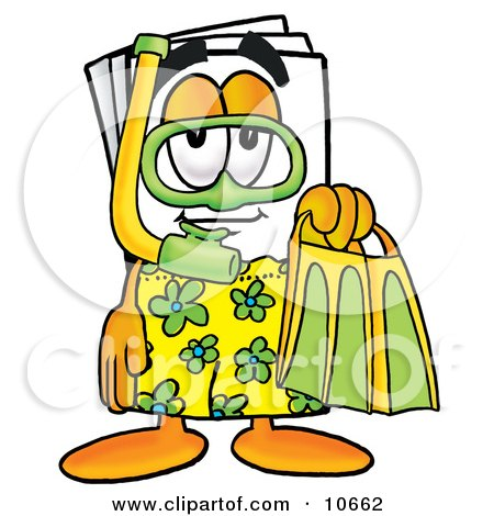 Clipart Picture of a Paper Mascot Cartoon Character in Green and Yellow Snorkel Gear by Toons4Biz