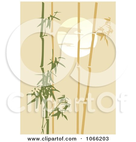 Clipart Bamboo Against A Tan Sunset - Royalty Free Vector Illustration by Vector Tradition SM