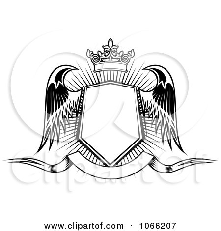Clipart Winged Crowned Shield Over A Banner 3 - Royalty Free Vector Illustration by Vector Tradition SM