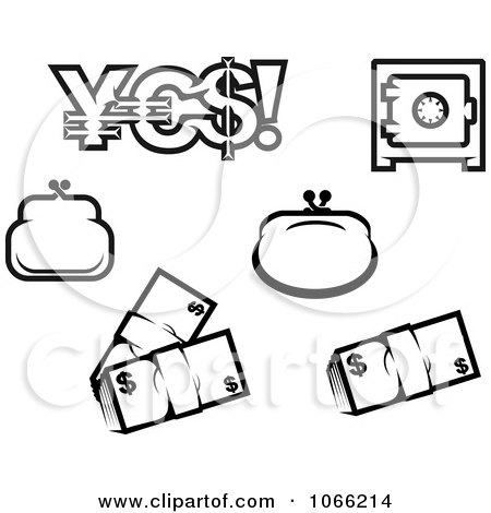 Black And White Finance Icons 2 Posters, Art Prints