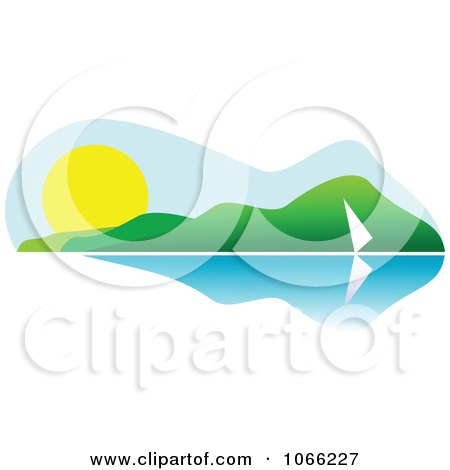 Clipart Sailing Summer Landscape - Royalty Free Vector Illustration by Vector Tradition SM