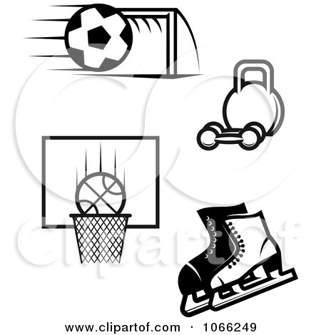 Clipart Black And White Sports Icons 2 - Royalty Free Vector Illustration by Vector Tradition SM