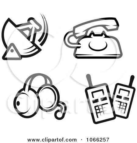 Clipart Black And White Communication Icons - Royalty Free Vector Illustration by Vector Tradition SM