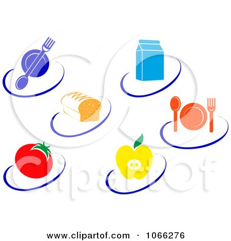 Clipart Healthy Food Logos - Royalty Free Vector Illustration by Vector Tradition SM
