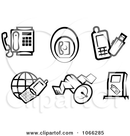 Clipart Black And White Phone Icons - Royalty Free Vector Illustration by Vector Tradition SM