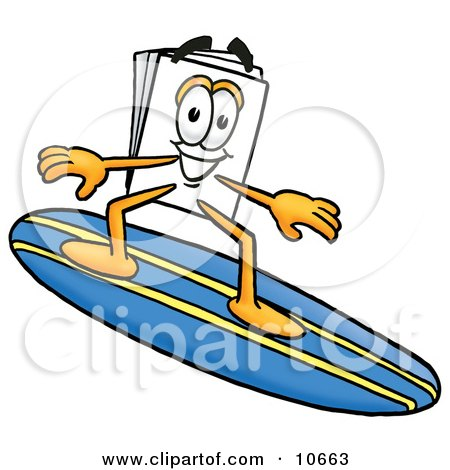 Clipart Picture of a Paper Mascot Cartoon Character Surfing on a Blue and Yellow Surfboard by Toons4Biz
