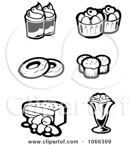 Clipart Black And White Food Icons 5 - Royalty Free Vector Illustration by Vector Tradition SM
