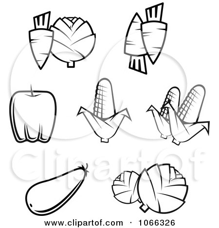 Black And White Food Icons 9 Posters, Art Prints