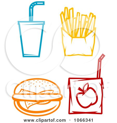 Clipart Colorful Fast Food Icons - Royalty Free Vector Illustration