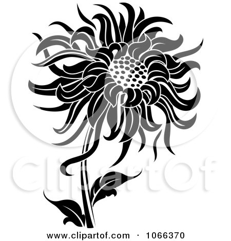 Clipart Black And White Sunflower - Royalty Free Vector ...