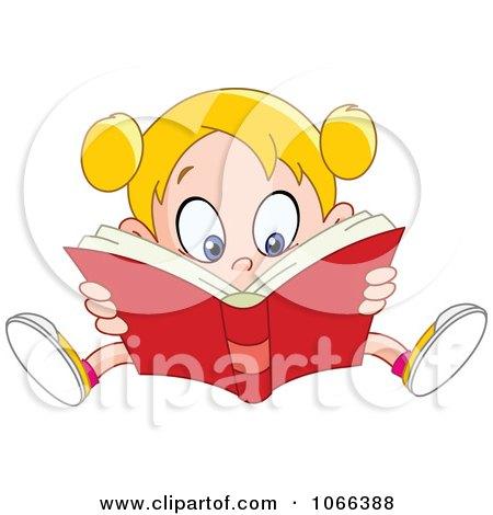 Clipart Girl Reading A Good Book - Royalty Free Vector Illustration by yayayoyo