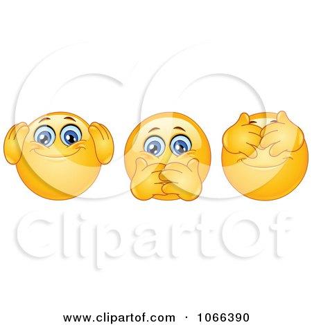 Clipart Hear No Speak No And See No Evil Emoticons - Royalty Free Vector Illustration by yayayoyo