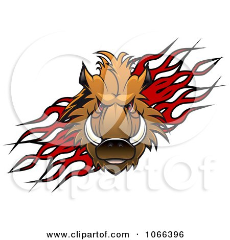 Clipart Razorback Boar Over Flames - Royalty Free Vector Illustration by Vector Tradition SM