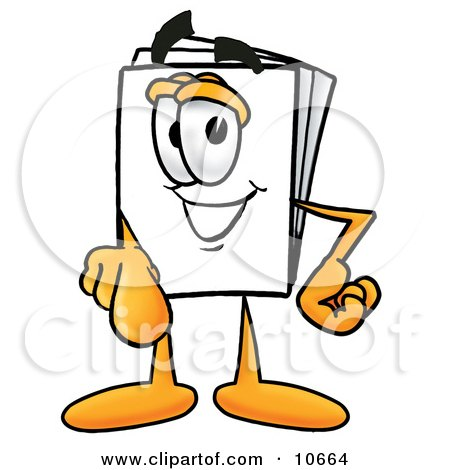 Clipart Picture of a Paper Mascot Cartoon Character Pointing at the Viewer by Toons4Biz