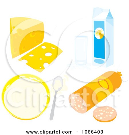 Clipart Dairy Foods And Sausage - Royalty Free Vector Illustration by Alex Bannykh