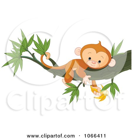 Clipart Tired Monkey Resting In A Tree With A Banana - Royalty Free Vector Illustration by Pushkin