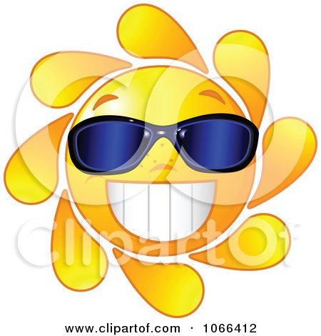 Clipart Cheery Sun Wearing Sunglasses - Royalty Free Vector Illustration by Pushkin
