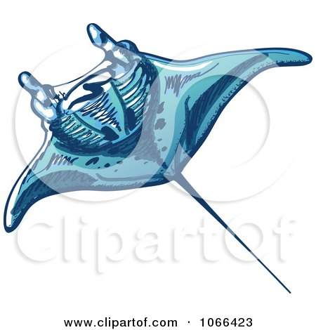 Clipart Swimming Ray - Royalty Free Vector Illustration by Zooco