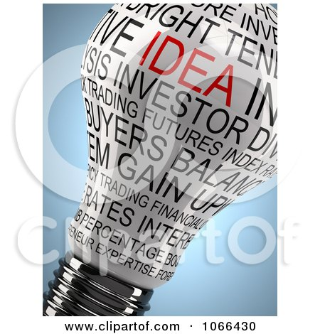 Clipart 3d Lightbulb With Idea And Other Words - Royalty Free CGI Illustration by stockillustrations