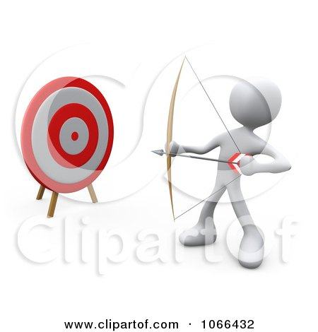 Clipart 3d White Person Archer By A Target - Royalty Free CGI Illustration by 3poD