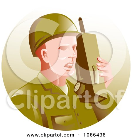 Clipart Soldier Using A Walkie Talkie Royalty Free Vector Illustration