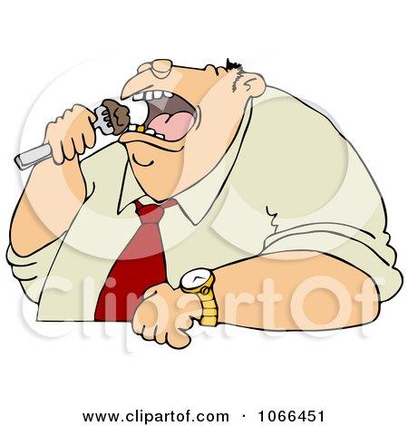 Clipart Unhealthy Man Eating - Royalty Free Vector Illustration by djart