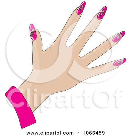 Clipart Womans Hand With Pink Daisy Nails - Royalty Free Vector Illustration by Maria Bell