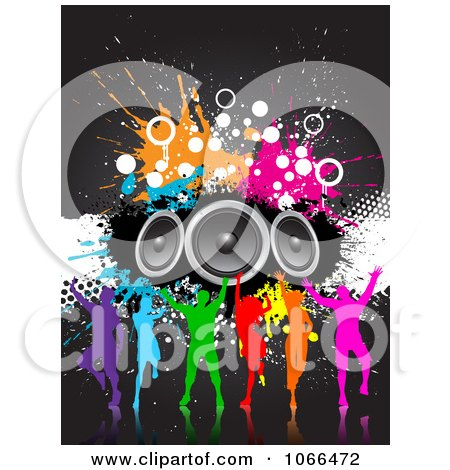 Clipart Silhouetted Colorful Dancers With Grunge And Speakers - Royalty Free Vector Illustration by KJ Pargeter