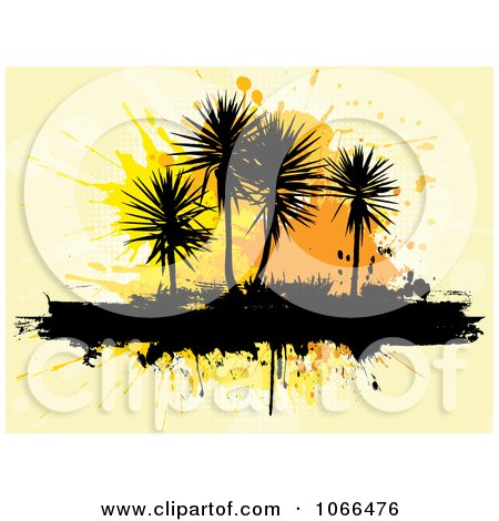 Clipart Grungy Palm Trees Over Orange Splatters - Royalty Free Vector Illustration by KJ Pargeter