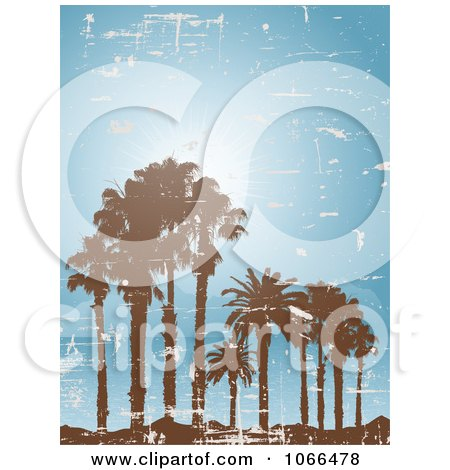 Clipart Grungy Palm Trees On A Tropical Island - Royalty Free Vector Illustration by KJ Pargeter