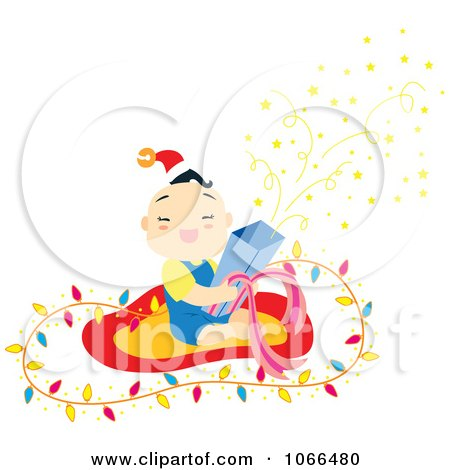 Clipart Asian Boy Opening A Christmas Present - Royalty Free Vector Illustration by Cherie Reve