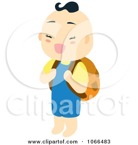 Clipart Asian Boy Carrying A Backpack - Royalty Free Vector Illustration by Cherie Reve