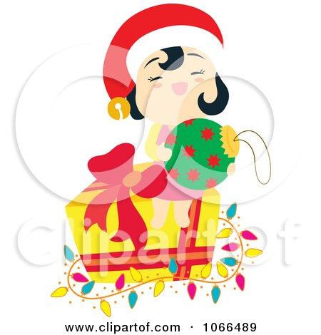 Clipart Asian Girl With Christmas Items - Royalty Free Vector Illustration by Cherie Reve