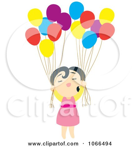 Clipart Asian Girl With Balloons - Royalty Free Vector Illustration by Cherie Reve