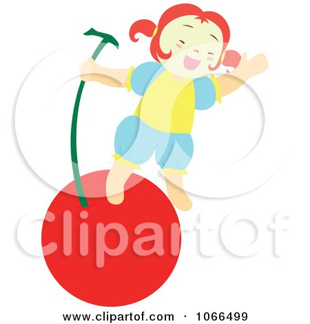 Clipart Irish Girl With A Cherry 4 - Royalty Free Vector Illustration by Cherie Reve