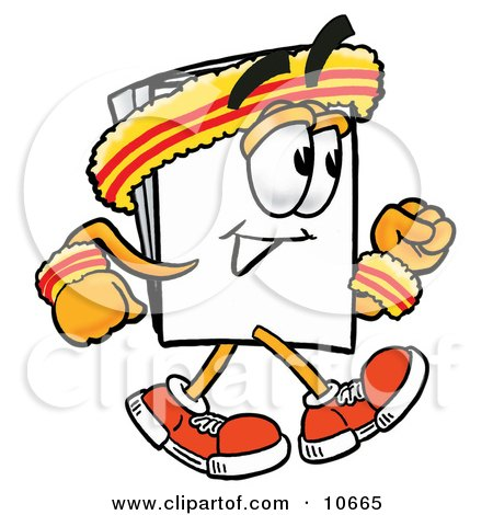 Clipart Picture of a Paper Mascot Cartoon Character Speed Walking or Jogging by Toons4Biz