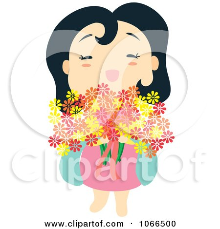 Clipart Asian Girl With Flowers - Royalty Free Vector Illustration by Cherie Reve
