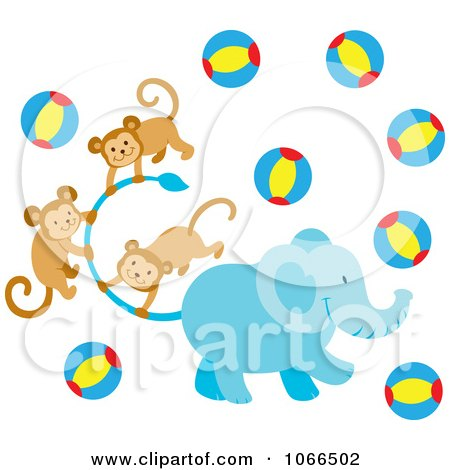 Clipart Elephant With Monkeys And Balls - Royalty Free Vector Illustration by Cherie Reve