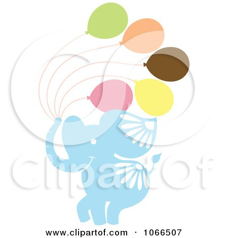 Clipart Elephants With Balloons - Royalty Free Vector Illustration by Cherie Reve