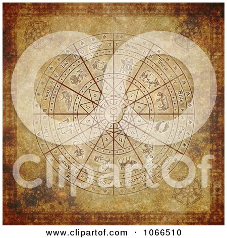 Clipart Antique Aged Zodiac Circle - Royalty Free CGI Illustration by Michael Schmeling
