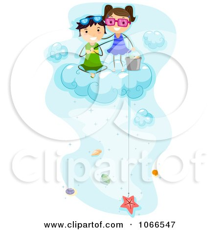 Clipart Kids Fishing For Sea Shells On A Cloud - Royalty Free Vector Illustration by BNP Design Studio