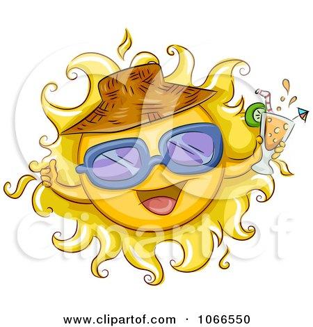 Clipart Summer Sun Holding Juice - Royalty Free Vector Illustration by BNP Design Studio
