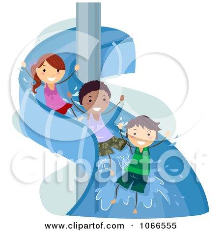 Clipart Stick Kids On A Water Slide - Royalty Free Vector Illustration by BNP Design Studio