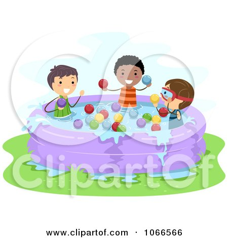 Clipart Stick Boys Throwing Water Balloons In A Kiddie Pool - Royalty Free Vector Illustration by BNP Design Studio