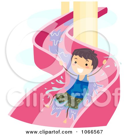 Clipart Boy On A Water Slide - Royalty Free Vector Illustration by BNP Design Studio